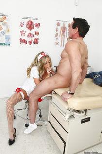 PeterNorth's babe Samantha in sexy nurse uniform takes big bone