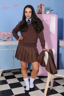Yasmin at home after school. Schoolgirl in 2019
