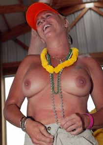 Topless mature party, nude middle-aged women with sagging tits