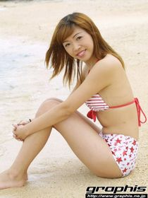 Asian teen Rio Sakura takes off her swimsuit on the beach