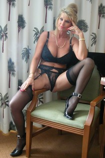 Sexy Blonde Mature in Stockings.