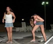 Drunk party slut peeing in public