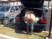 Crazy pure mature blonde show her big butt in public