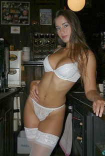 Sexy brunette amateur in white lingerie