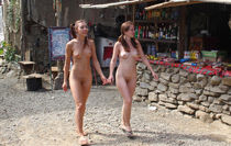 Two naked teens walk at small beach market Russian Sexy Girl