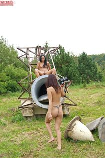 Naked Teen Bailey Brooke explore an old rusty plane