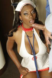 Big Breast Nurses open mouth facial