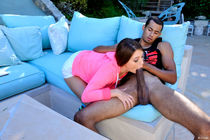 Young slut JoJo gobbles up a BBC like a pro while giving a blowjob